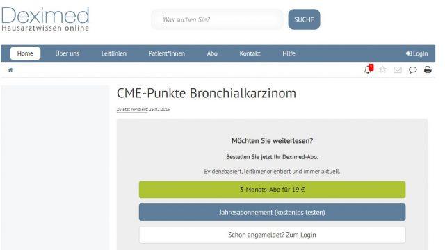 Deximed Bronchialkarzinom-Kurs Online
