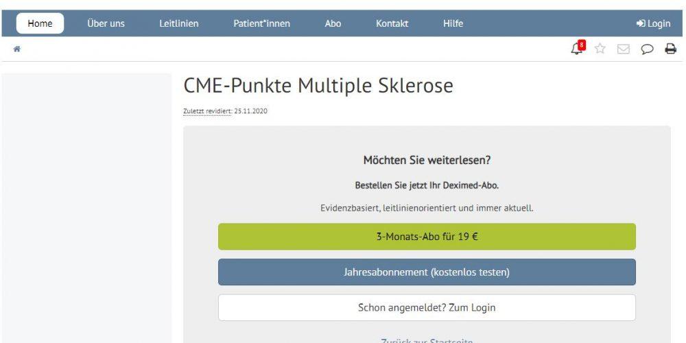 Deximed Multiple-Sklerose CME-Kurs Online